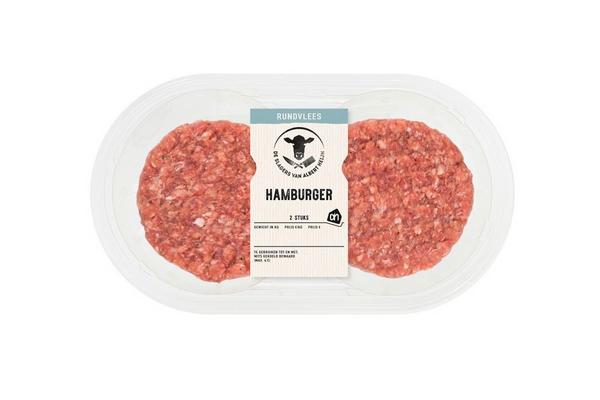 2 beef burgers in plastic packaging