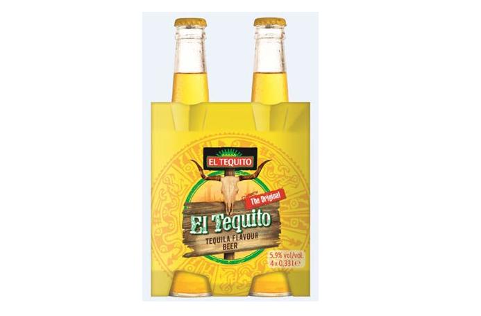 Gele verpakking bier met tequilasmaak El Tequito
