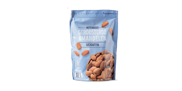 bag of salted roasted almonds from Aldi
